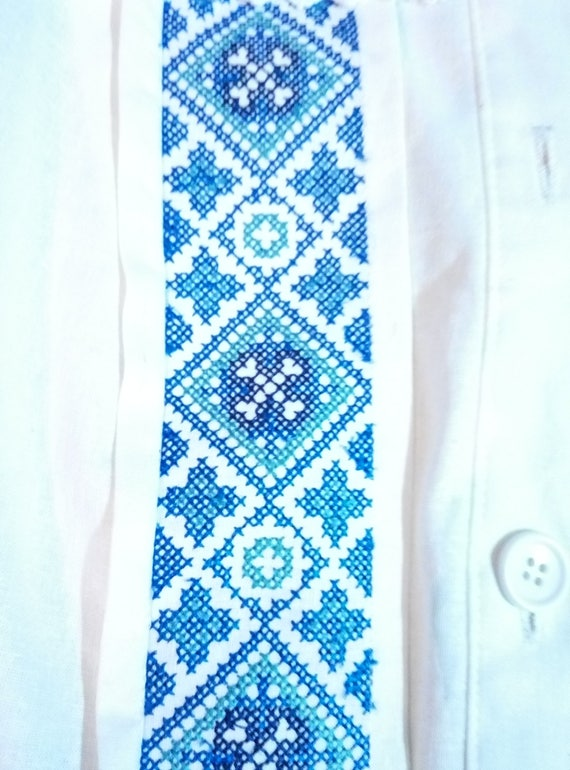 Dress Maxi Ukrainian Embroidered Pattern Vyshyvanka Linen Ethnic Strip vEWWgpZ