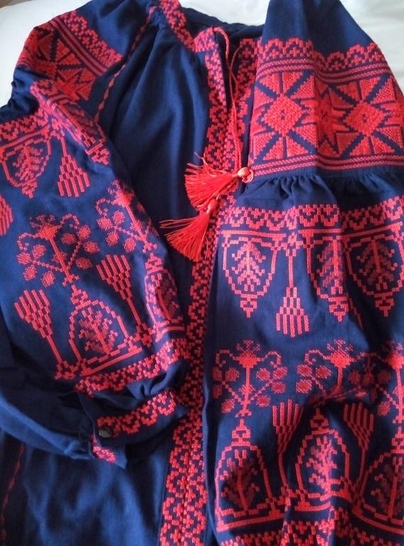 Chic Ukrainian Embroidered Ethnic Vyshyvanka Linen Shirt Ethno Vishivanka Boho wHaqPXXR