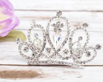 Silver Rhinestone Mini Tiara, Doll Tiara Baby Tiara, Baby Tiara, Tiny Tiara Photo Prop, Rhinestone Princess Mini Crown, Mini Tiara Comb