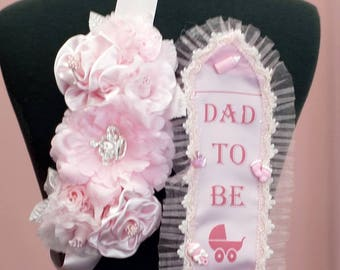 Pink Maternity Pin Corsage Sash, Pregnancy Sash, Baby Shower Sash Belt for Mom To Be/Dad To Be - Set of 2 with Ribbon Tie