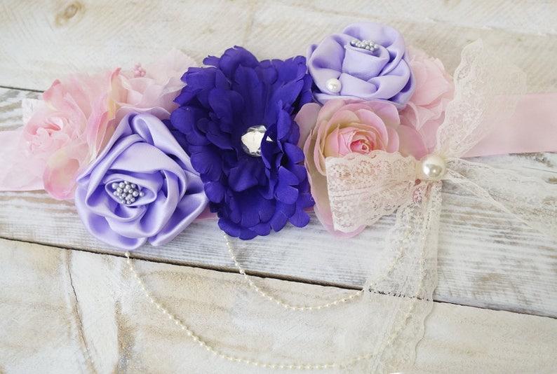 1c4fe58179d Fleur pourpre rose bébé douche ceinture pour maman à être
