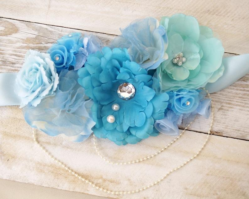 b3ccd578ea1 Fleur bleu ceinture ceinture de douche de bébé pour maman