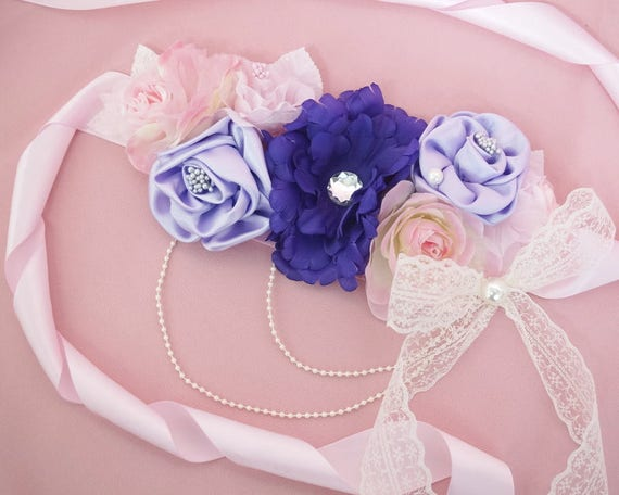 Pink Purple Flower Baby Shower Sash For Mom To Be Mom To Be Etsy