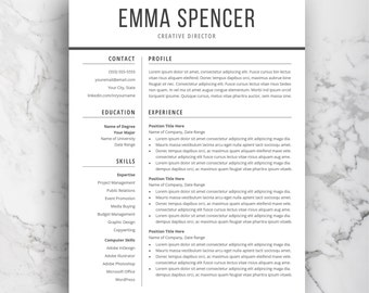 modern resume template for word cv template simple professional resume layout word resume template instant download letter or a4