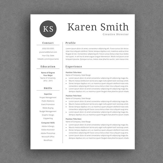 modern resume template curriculum vitae template etsy