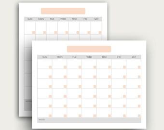 Printable Calendar Template   Instand Download   Blank Calendar PDF   Desk Calendar Templates   Planner