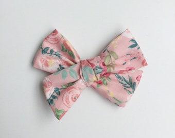 Pink Hair Bow/ Fabric Bow for Baby/ Headband Bow/ Hair Bow Clip/ Pinwheel Bow/ Toddler Hair Bow/ Floral Bow