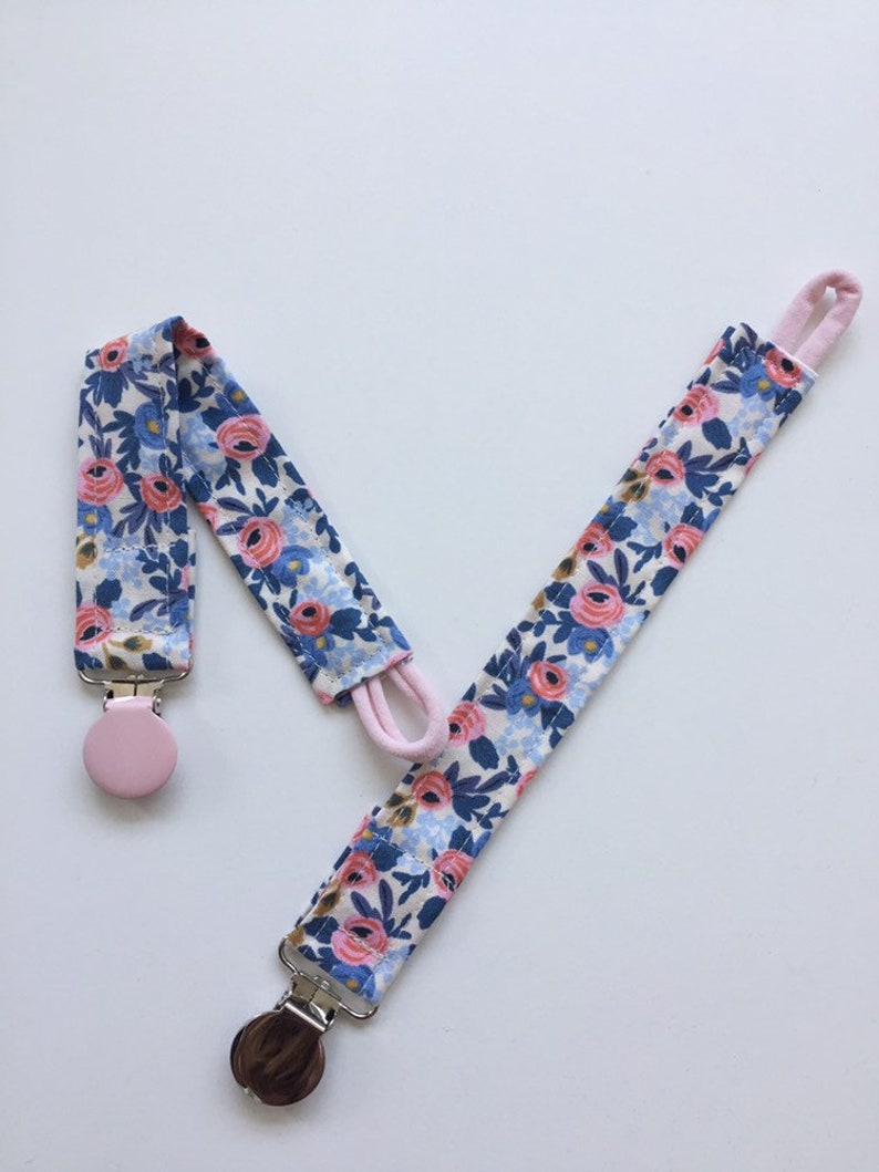 Blue Floral Paci Clip/ Fabric Teether Clip/ Floral Fabric image 0