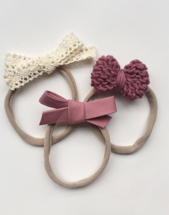 f2bb8f115aa43 Valentine's Bow Set/ Pink Baby Headbands/ Knitted Bow Headband/ Hand-Tied  Bow/ Lace Baby Bow/ Newborn Photo Prop/ Toddler Headbands