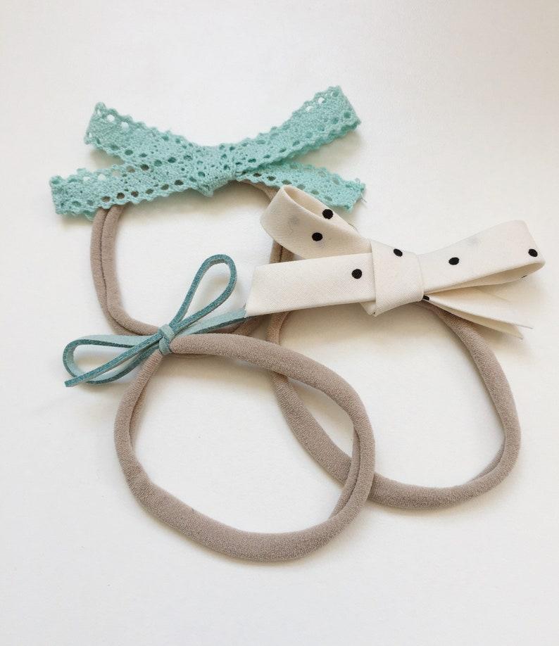 b81b098d3f908 Baby Hair Bow Headband Set/ Mint Lace Headband Set/ Faux Suede Bow/  Turquoise Bow/ Newborn Photo Prop/ Toddler Headband/ Fabric Bow