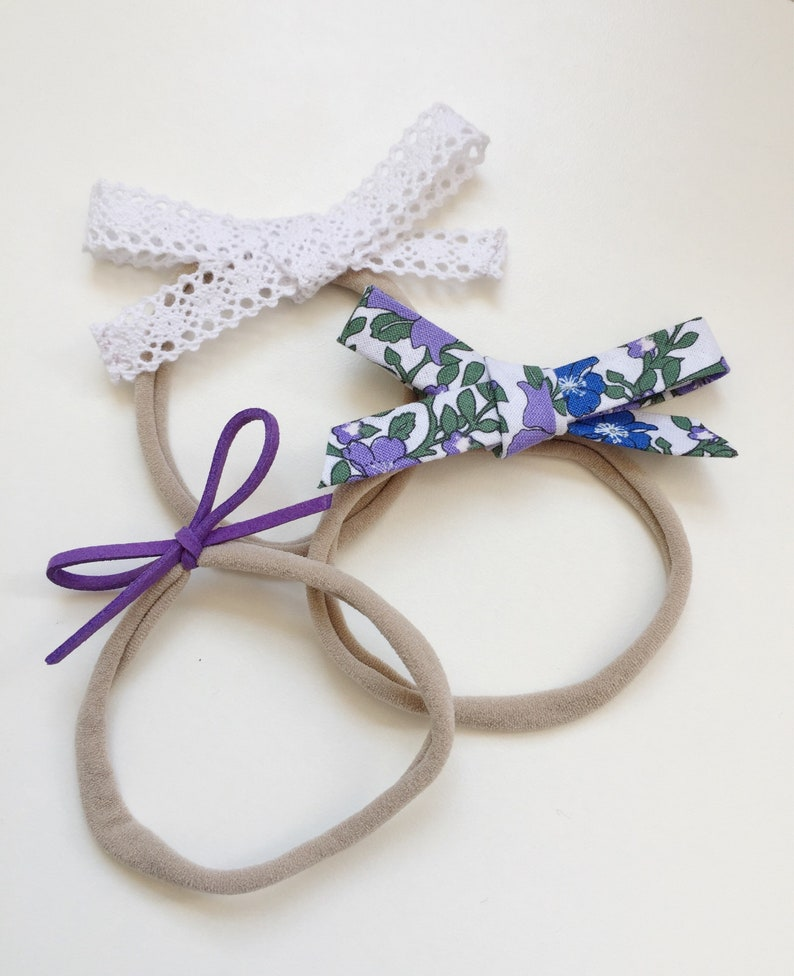b0daa60000291 Baby Headband Set/ White Lace Bow Headband/ Faux Suede Bow/ Lace Baby Bow/  Newborn Photo Prop/ Toddler Headbands/ Fabric Bow