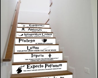 Stickers for Stairs and Walls «Harry Potter Spells» / Set of 13 Stripes / Stair Riser Decal /Vinyl Strips / Peel & Stick Magic Spells