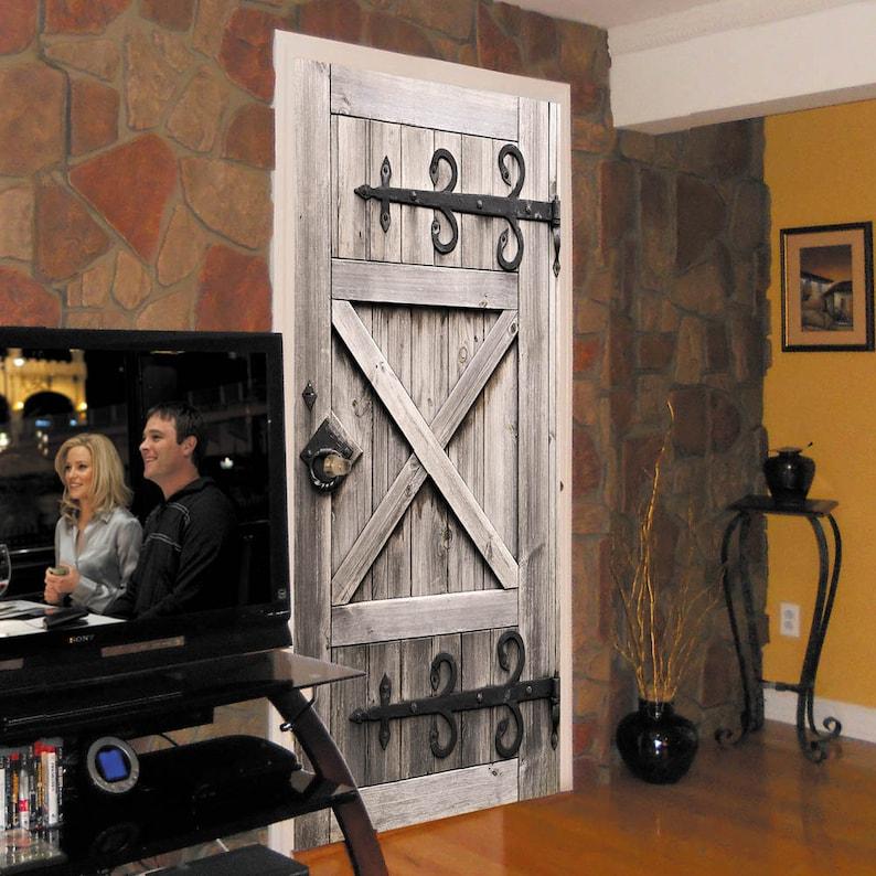 Door Wall Sticker Barn Door / Self-Adhesive Vinyl Decal Poster image 0