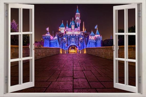 Disney Castle at Night 3D Fenêtre Effet Autocollant Mural Art Décalcomanie Murale