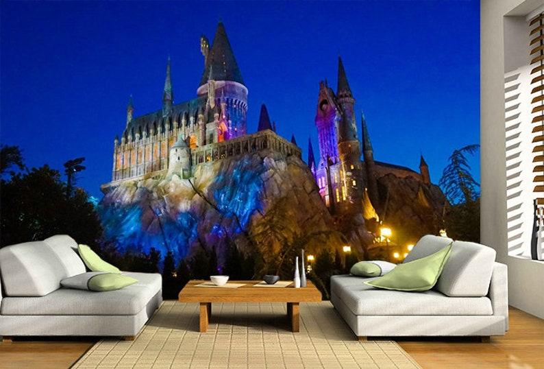 3d wall sticker window hogwarts castle /harry potter decal | etsy