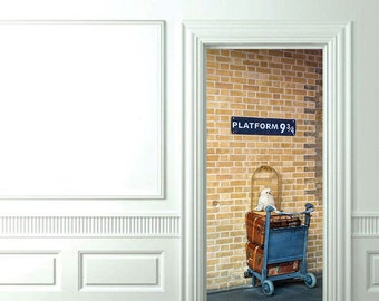 "3D Door Wall Sticker *Platform 9 3/4* /Harry Potter Decal/ Harry Potter Sticker/Hogwarts /Self-Adhesive Vinyl Mural/31""w x 79""h (80 x 200cm)"