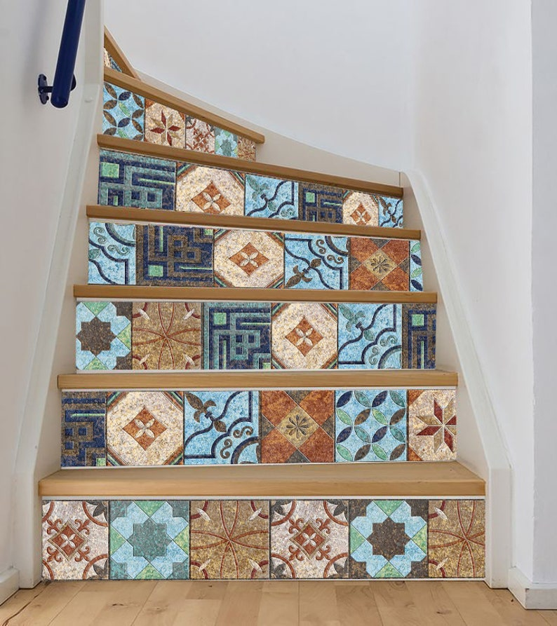 Groovy Stair Riser Decals Vinyl Stickers Tile With Geometric And Floral Ornaments Bathroom Kitchen Backsplash Floor Tile Removable Peel And Stick Download Free Architecture Designs Griteanizatbritishbridgeorg