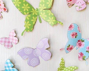 3D Wall Butterflies - 12 Pastel Butterfly Silhouettes / Nursery Decor / Home Decor / Wedding Decor