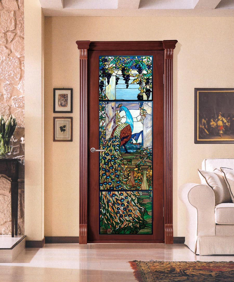 Vinyl Sticker Door With A Stained Glass Peacock Etsy