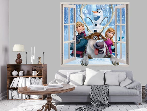 3d Wall Sticker Fenetre Frozen Walt Disney Autocollant Etsy