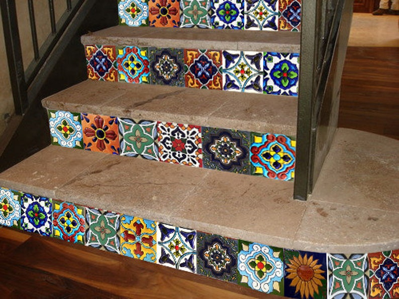 Stair Riser Decals /Vinyl Stickers Mexican Talavera Tiles 3 / Bathroom  Kitchen Backsplash/ Wall/ Floor Tile / Removable Peel And Stick Tile