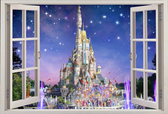 3d Wall Sticker Fenetre Chateau Disney Autocollant Etsy