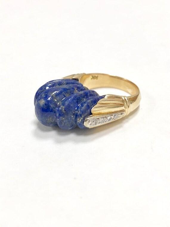 Estate 14k Yellow Gold Carved Lapis Lazuli & Diamond Elevating Cocktail Ring