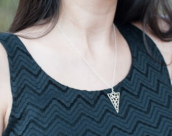 Hand Sawn Triangle Necklace, Sterling Silver