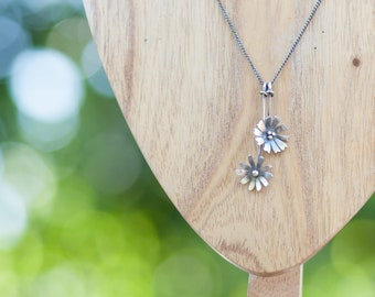 Handmade Sterling Silver Double Flower Necklace