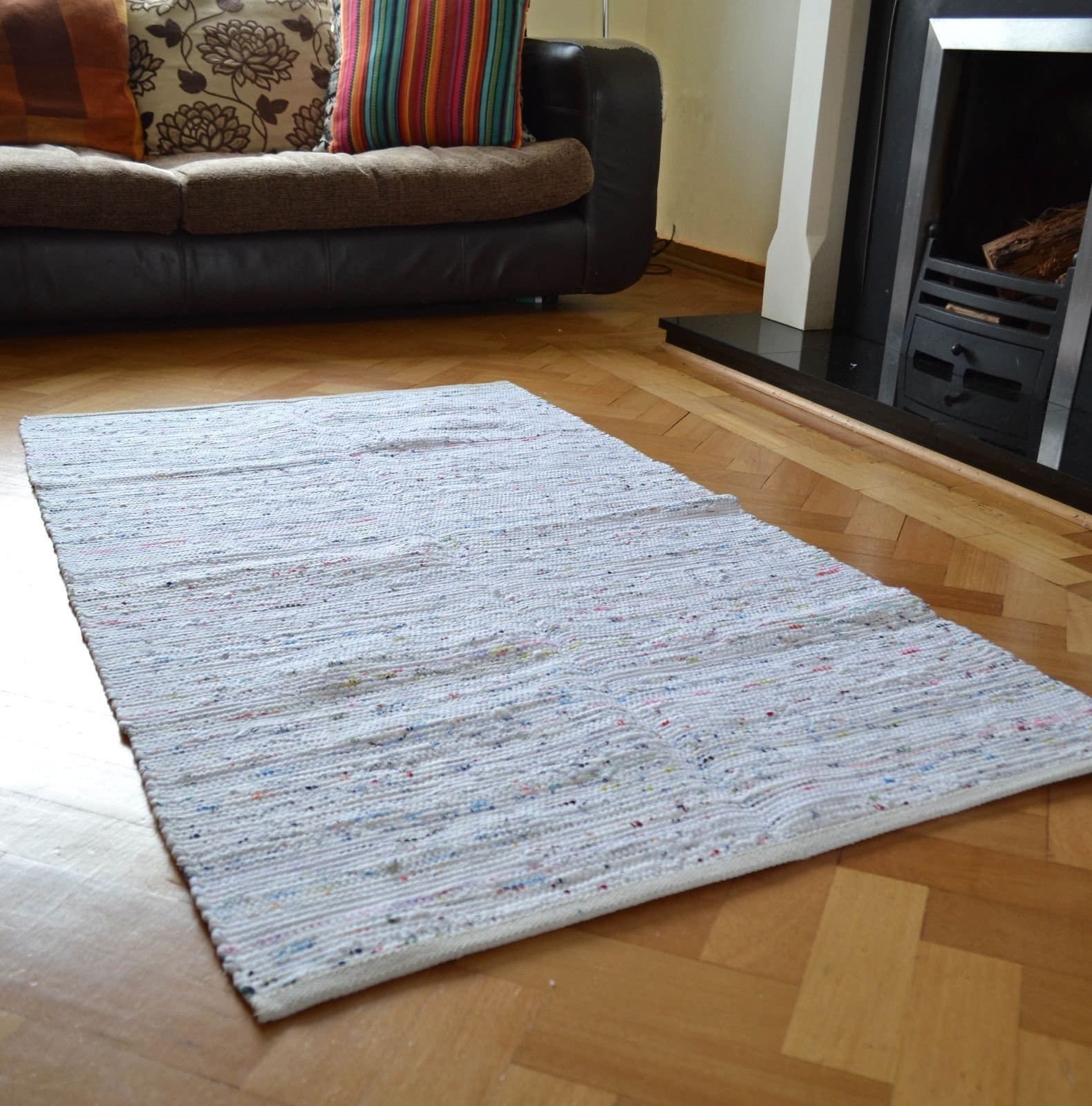 White Chindi Rag Rug Handmade Recycled Cotton Various