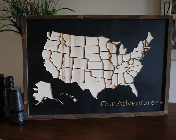 Featured listing image: Wooden United States travel map - pins included - hometown - travel gift