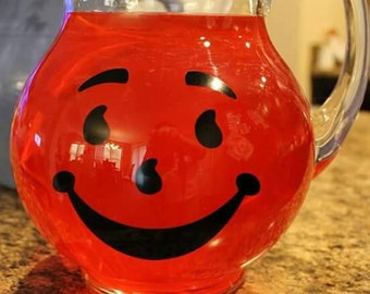 Kool Aid Pitcher - Glass pitcher - Lemonade Pitcher - Glass Bubble Pitcher - Childhood memories - Vintage Style Pitcher