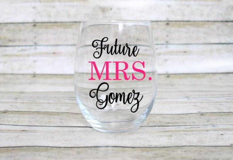 Engagement Wine Glass Future Mrs 21oz Wine Glass Custom Glitter Glass Wine Glass Wine Glass Wedding Wine Glass
