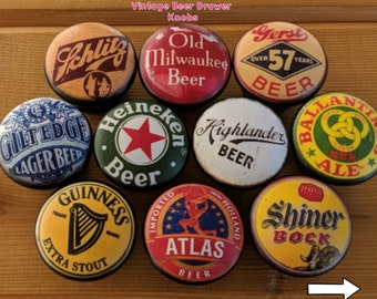 Beer Bottle Cap Vintage Pattern Drawer Knobs Size 1.5, Antique Dresser Knob, Retro Man Cave, Cabinet Pull, Hand Painted No VOC Paint