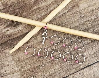 O Ring Stitch Markers, Key Stitch Marker, Round Stitch Markers,  Key Progress Charm, Gifts for Knitter, Knitting Tool, Snag Free