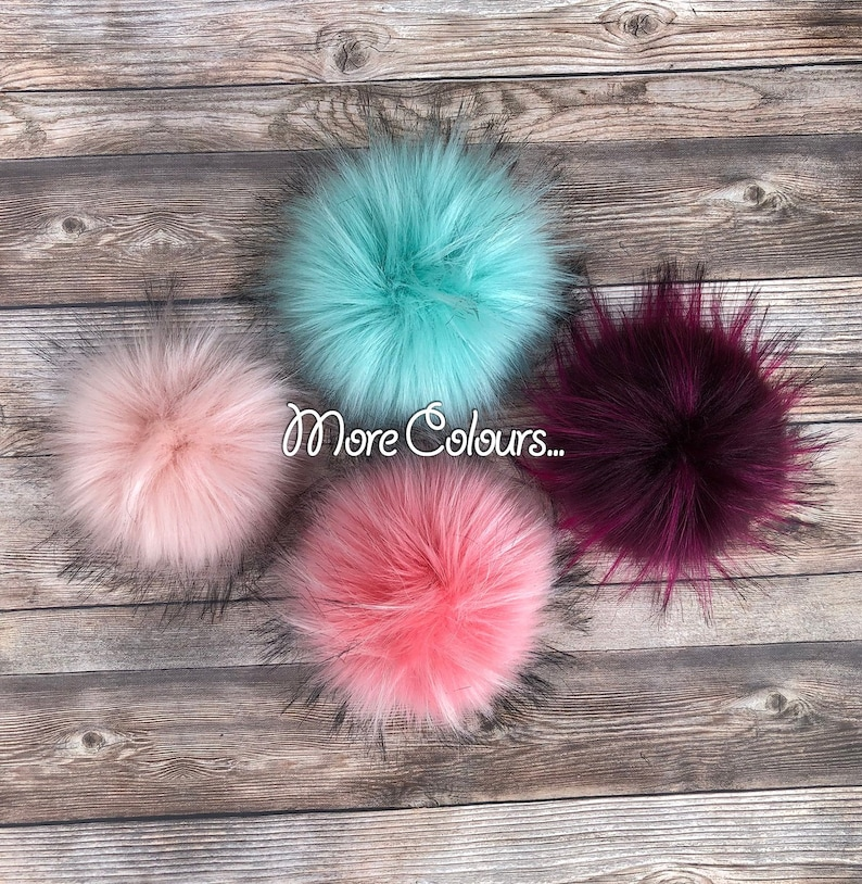 dc4b4d5ddcd Faux Fur Pom Pom Large 7 Fake Raccoon Fur Pom Pom