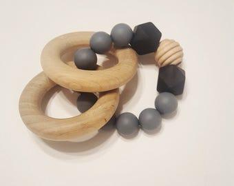 Black/Grey Silicone Bead Teething ring, silicone teether, wood ring teether, baby teether