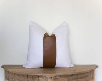 18x18 Faux Leather and White Linen