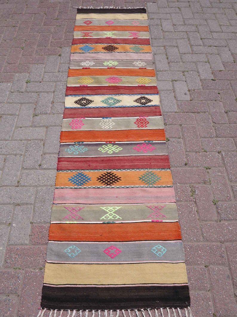 Vintage Turkish Kilim Runner Rugs Carpet Runner Hallway Rug Corridor Rug Colorfull Rug Runner Long Rug Runner 93 X 24 4 Inches 236 Cmx62 Cm