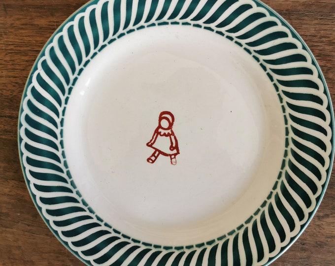 vintage ceramic plate, hand printed