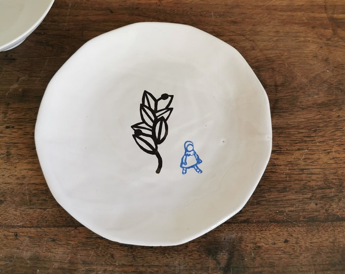 hand printed and handmade ceramic plate