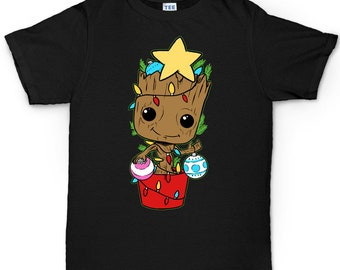 Spotty Baby Groot Kids T Shirt  Girls Christmas Xmas Novelty Tee T-Shirt
