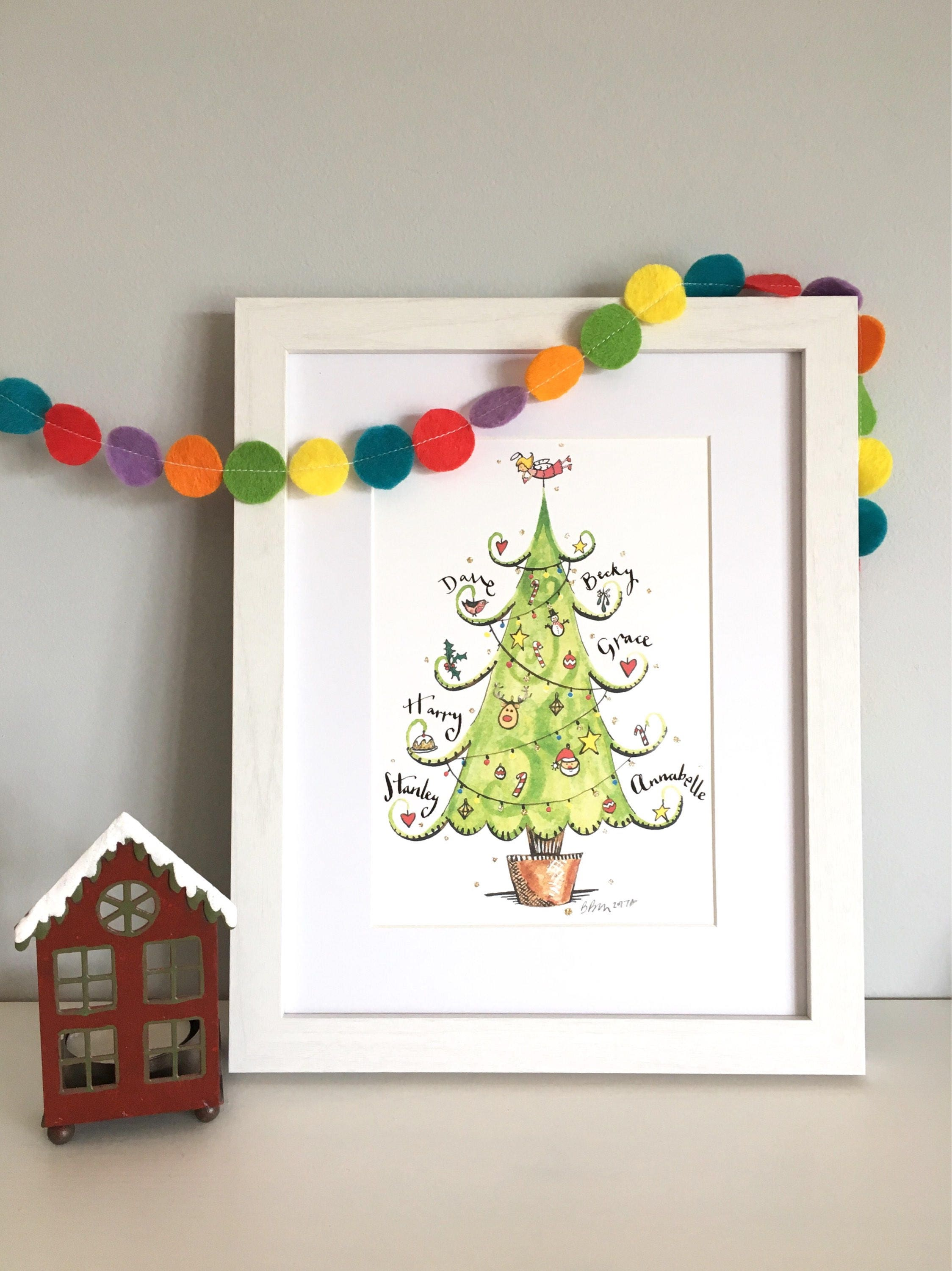 Family christmas tree print, personalised print, hand finished print ...