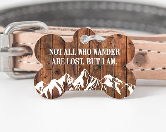 Pet Id Tag, Dog Tag for Dogs, Dog Tag with Mountains, Faux Wood Dog Tag, Dog Bone Tag for Dogs, Dog Tag for Collars, Personalized Dog Tag