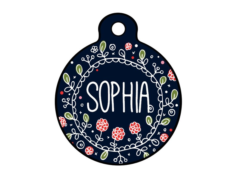 Floral Pet ID Tag - Trendy Dog Name Tag - Aluminum Name Tag - Name Badge -  Floral Wreath - Circle Pet Tag - Large Dog Tag - Extra Large Dog