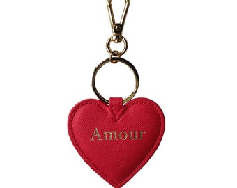 Amour Red love heart keyring charm