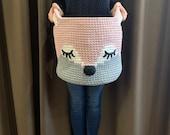 READY TO SHIP blush nursery basket Fox basket Crochet Woodland Knit toy basket Woodland Animal nursery decor