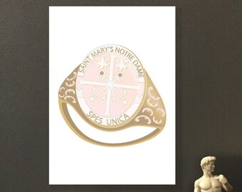 Saint Mary's College Ring Print, Digital Print, Gold & Silver Class Ring