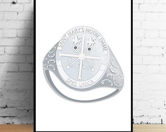 Saint Mary's College Ring Print Silver, White Gold