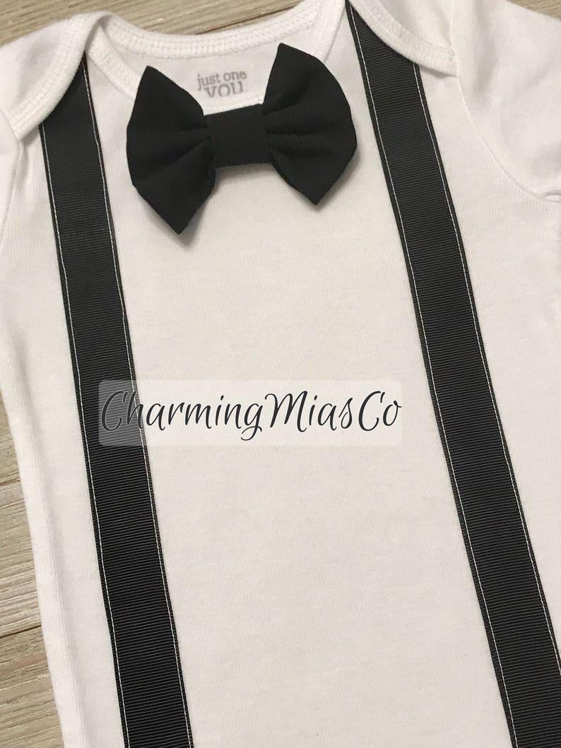 interchangeable bow tie Infant tuxedo style onesie bachelor